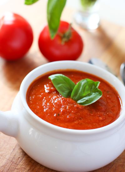 Skinny Tomato and Roasted Red Pepper Soup! Only 80 yummy calories a cup and so easy to make!