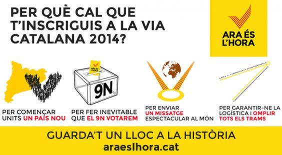 """La V compta ja compta amb més de 70.000 inscrits - omnium.cat, 04 agost 2014. A hores d'ara ja hi ha més de 70.000 persones inscrites a la """"V"""" de l'11 de setembre que unirà la Plaça de les Glòries amb la Plaça Pius XII i la Plaça Ildefons Cerdà de Barcelona. Tot i això, la campanya """"Ara és l'hora"""", impulsada per l'Assemblea Nacional Catalana i Òmnium Cultural, organitzadora de l'11 de setembre, fa una nova crida a inscriure's pel web als diversos trams."""
