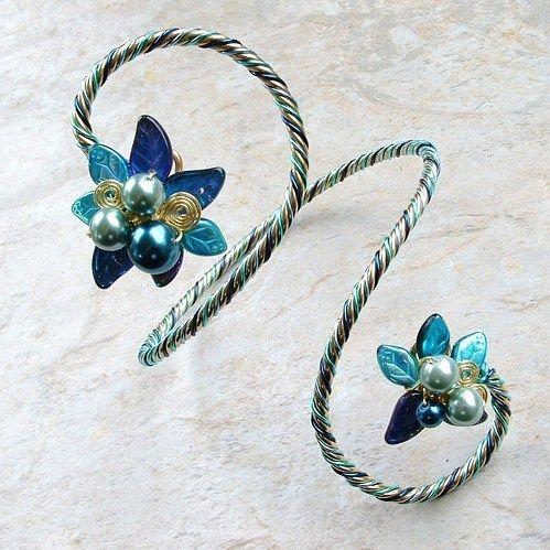 Art Nouveau Blue Bracelet or Arm Cuff