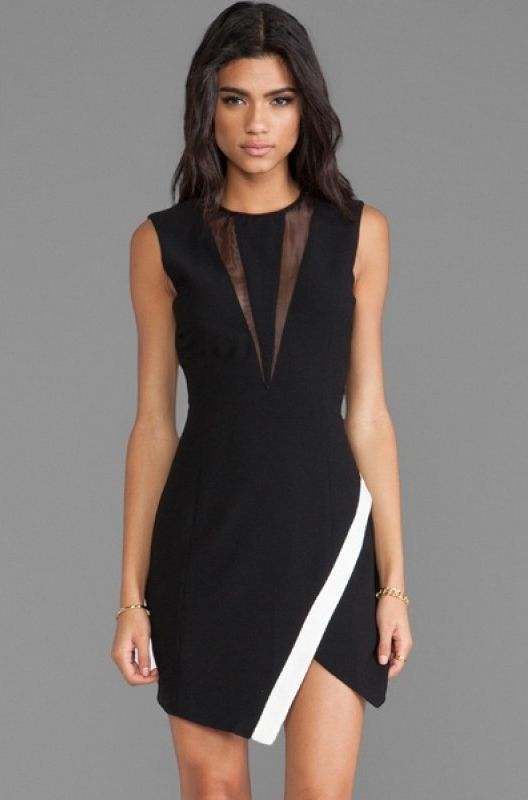 Sukienka Asymetryczna Czarno Biala Elegancka Mini Dress Women Cheap Dresses Casual Dresses For Women