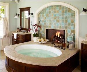 Master Bath Tub + Fireplace