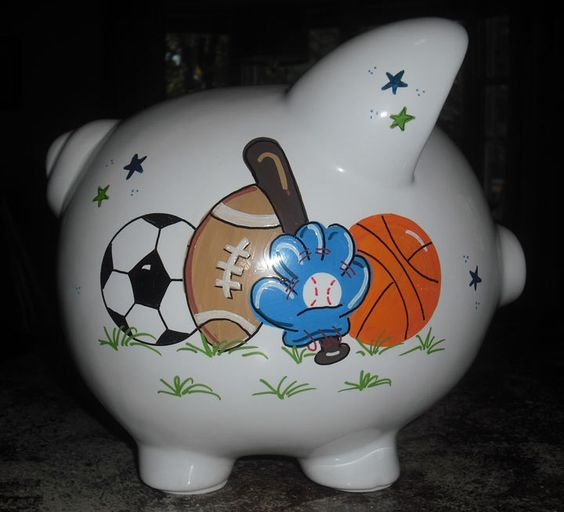 A personal favorite from my Etsy shop https://www.etsy.com/listing/200525065/personalized-boys-sports-piggy-bank