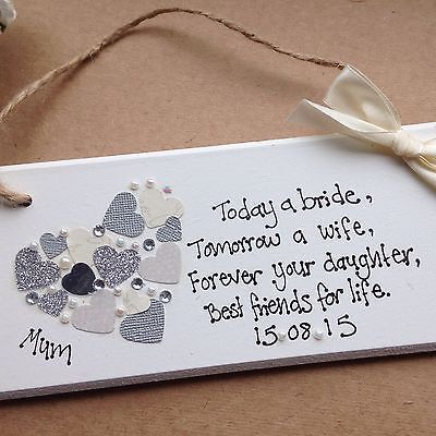 Wedding Gift Ideas For Friends Daughter : ... Gift Chic Heart Plaque Mother Of The Bride Gift Wedding Present