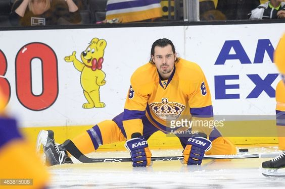 LOS ANGELES, CA - FEBRUARY 12: Drew Doughty #8 of the Los Angeles Kings stretches before a game against the Calgary Flames at STAPLES Center on February 12, 2015 in Los Angeles, California. (Photo by Aaron Poole/NHLI via Getty Images)