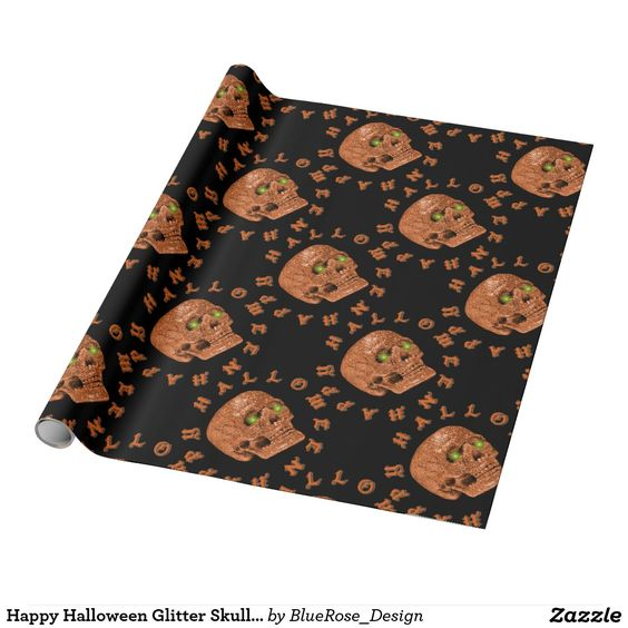 Happy Halloween Glitter Skull Wrapping Paper