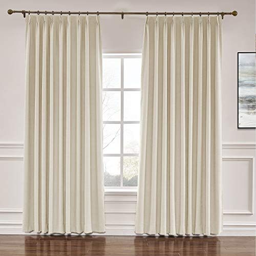 Prim 72x84 Inch Linen Draperies Room Darkening Thermal Insulated Blackout Pinch Ple Large Window Curtains Floor To Ceiling Curtains Window Curtains Living Room Extra wide pinch pleat drapes