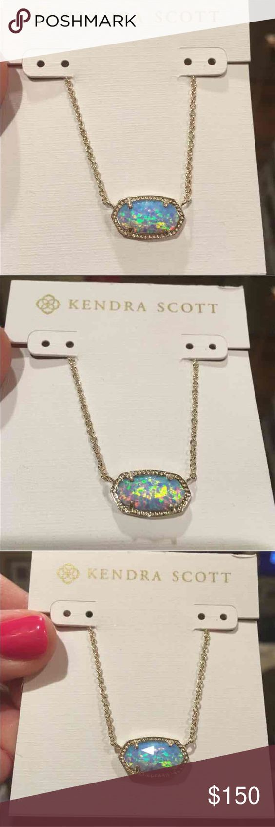 NWT Kendra Scott gold ice blue Opal Elisa NWT custom Kendra Scott ice blue Kyocera Opal Elisa necklace. This is a gorgeous stone that was part of the Holiday 2015 collection, and it is sold out and hard to find. This was never sold by Kendra in an Elisa, only an Eloise. This stone has been transferred to a gold Elisa. If you would prefer it in silver, gunmetal or rose gold, I can make that for you as well. No trades, price is firm here, cheaper on Ⓜ️ Kendra Scott Jewelry Necklaces