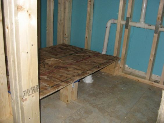 Raised Tub And Shower Rough Plumbing Studding And