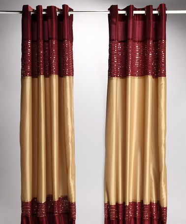 Beatrice Home Burgundy & Gold Xanadu Lined Curtain Panel - Set of ...
