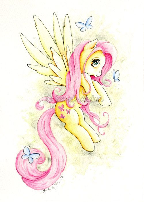 My Little Pony Fluttershy Art Print 5x7 - Butterfly by Sarah Alden   For Benji.: