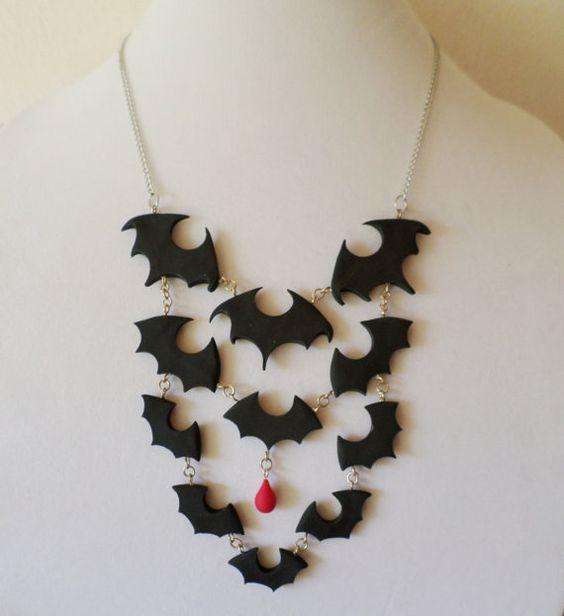 Halloween Polymer Clay Bat Swarm Bib Necklace by Richard Gallo-Anderson of MarkalinoJewelry