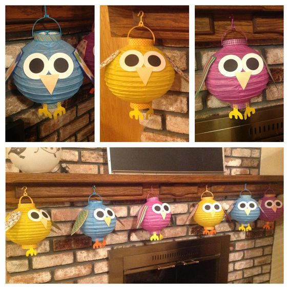 Bought plain color paper lanterns from the .99 cent store and used scrap paper to make them into owls, used for a woodland theme birthday party decorations.