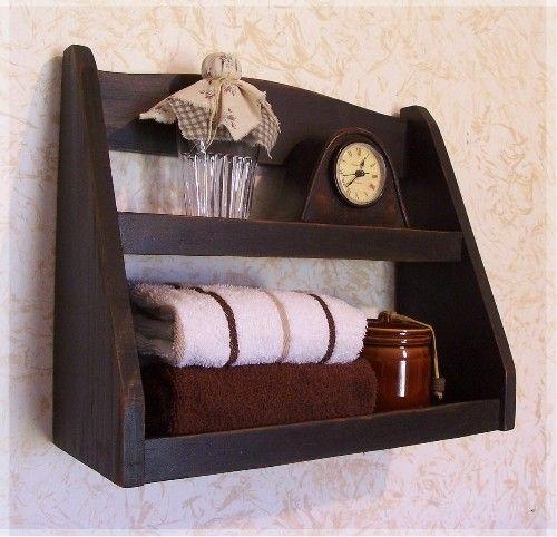 Step Back Bathroom Rack Primitive Storage Shelf / Lamp Black / Color Choice / Wall Mount Wall ...