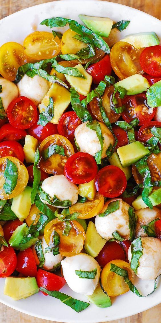 Tomato, Basil, Avocado, Mozzarella Salad with Balsamic Dressing