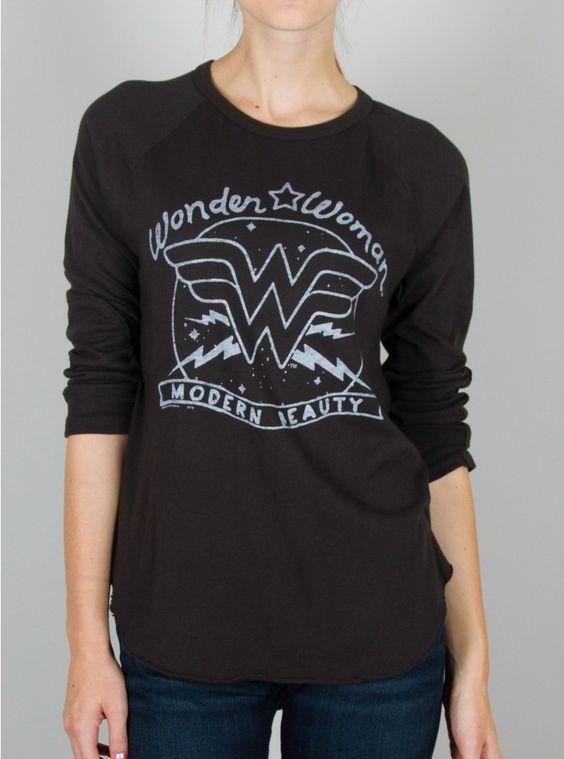 Wonder Woman American Beauty Black Raglan www.junkfoodclothing.com #junkfoodtees