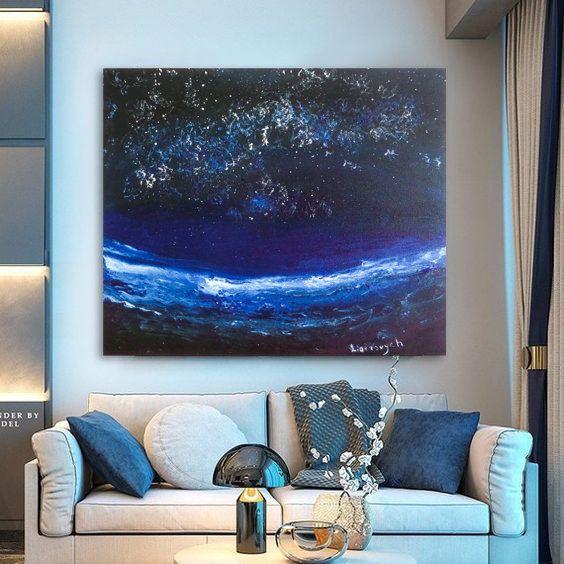 Galaxy Painting Space Art Master Bedroom Navy Canvas Wall Art Etsy Navy Blue Wall Art Baby Wall Art Blue Wall Art