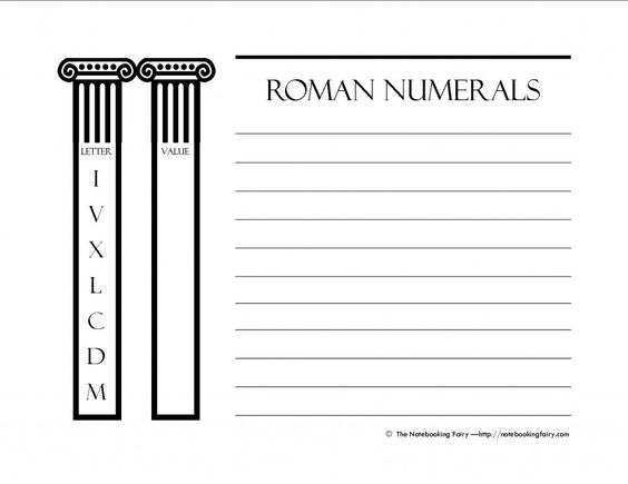 Free printable notebooking pages for roman numerals Notebooking - roman numeral chart template