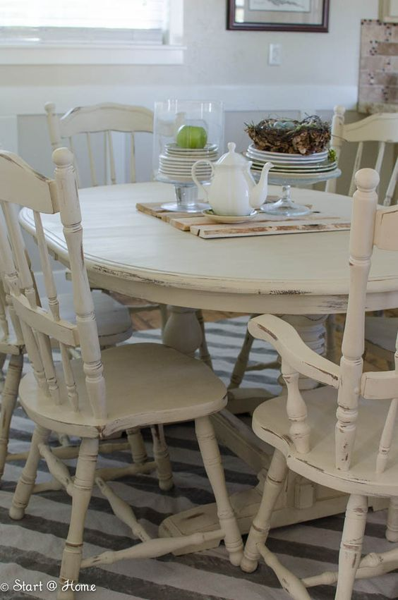 White Distressed Dining Room Table start at home - annie sloan old orche chalk paint | painting
