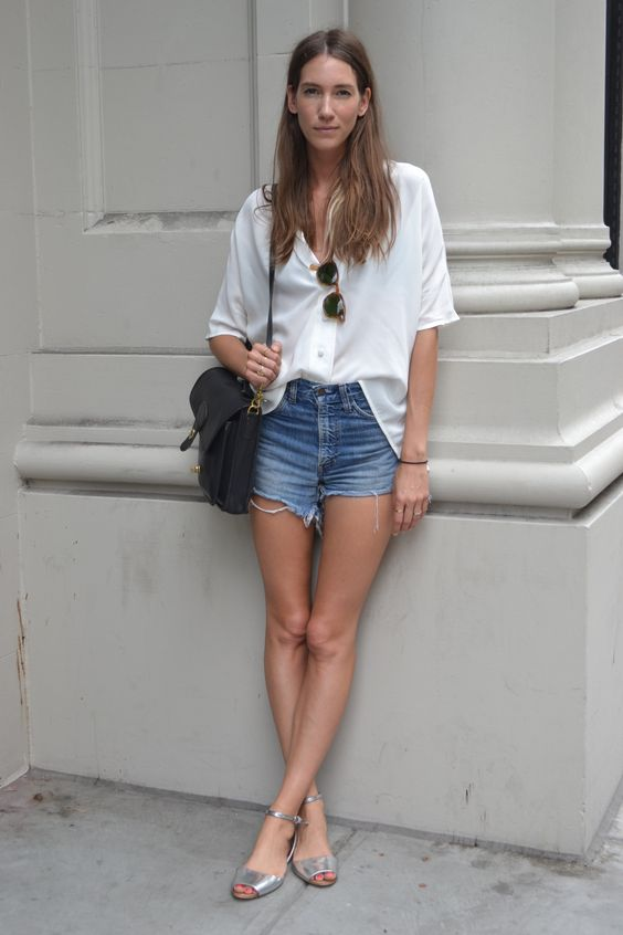 A simple white button-up, classic denim cut-offs and a black boxy satchel creates a chic summer look. Shirt by Brooklyn designer, Ilana Kohn.  SUBSCRIBERS CLICK HERE FOR OUR LATEST SATCHEL COMMERCIAL UPDATE  WGSN street shot, New York.