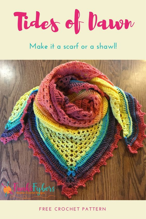 This Free Crochet Pattern Makes Great Use Of Lion Brand Mandala Yarn And Can Be Made Into A C Crochet Triangle Scarf Crochet Shawls And Wraps Crochet Patterns