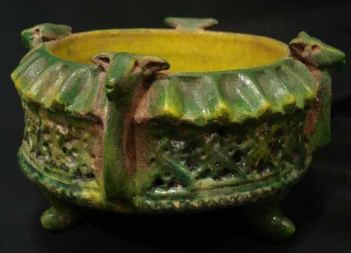 Green Glazed Dish with Moulded Ram Heads  Origin: Central Asia Circa: 800 AD to 1200 AD