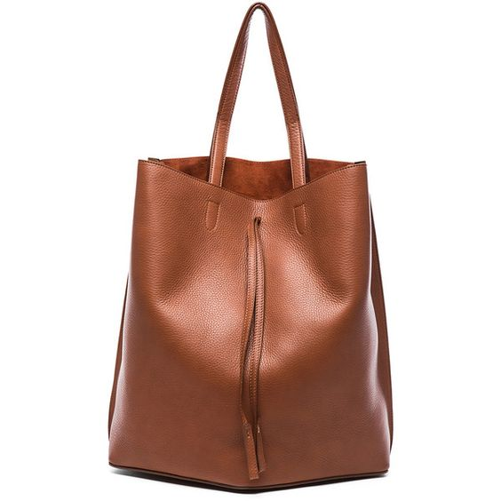 Maison Margiela Leather Shopper Bag ($1,590) ❤ liked on Polyvore featuring bags, handbags, tote bags, brown leather purse, shopping tote, brown leather tote and drawstring tote