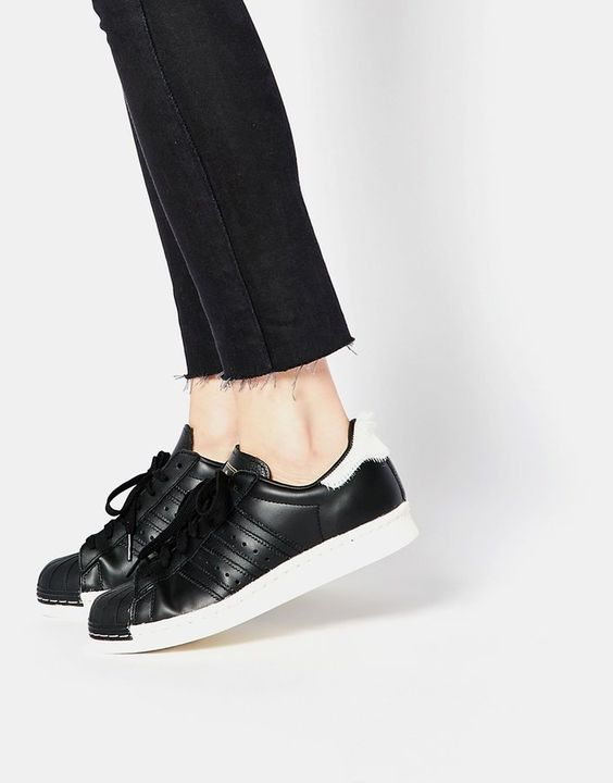 Pin for Later: Gigi Hadid's Date-Night Shoes Are Not What You Would Expect  Adidas Originals Superstar 80's All Over Black Sneakers ($162)