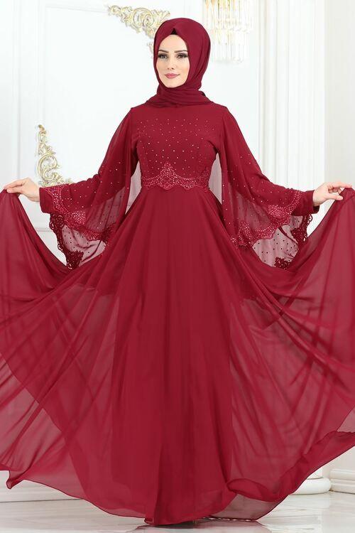 Modaselvim Abiye Tas Pelerinli Sifon Abiye 3022sm221 Bordo The Dress Elbise Moda Stilleri