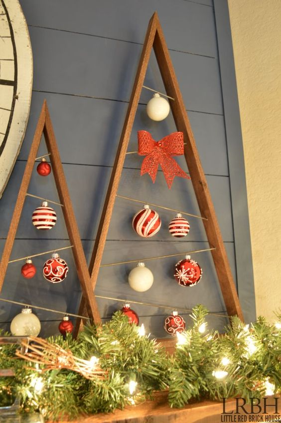 2014 Christmas Home Tour   LITTLE RED BRICK HOUSE. Like the wooden Christmas trees