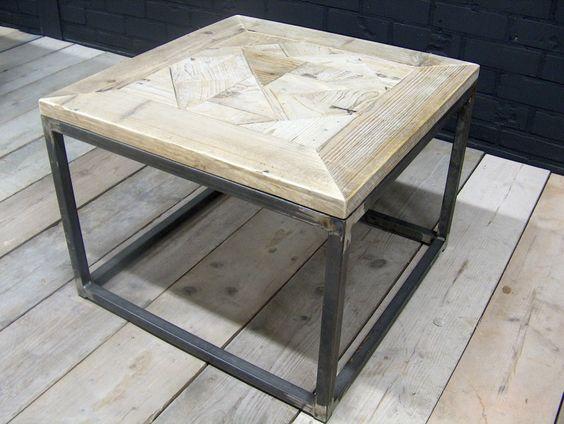 Salontafel steigerhout met stalen buisframe 60x60x46cm for Steigerhout salontafel