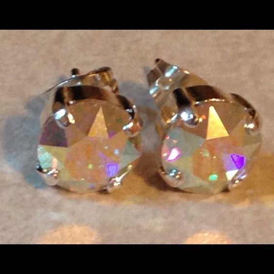 Aurora Boreale Swarovski Crystal stud earrings 8mm post/stud earrings...Shiny silver settings with AB crystals...NEW...hypoallergenic and nickel free Jewelry Earrings