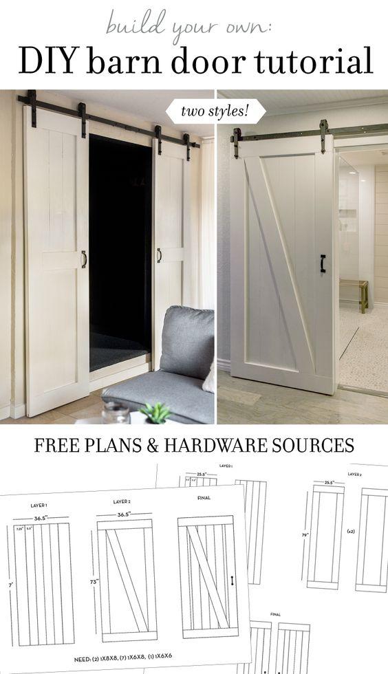 DIY Barn Door Plans \ Tutorial Design, Placard à linge et Moderne