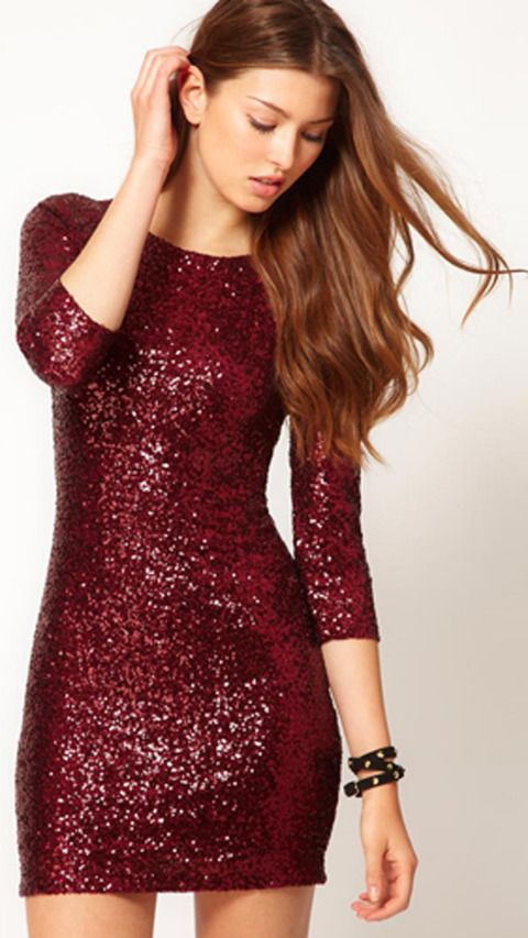 Sequins, mini, long sleeves—this triple threat of a dress is one we're dying to get our hands on. TFNC Sequin Dress with Long Sleeves, $96.75, asos.com.: