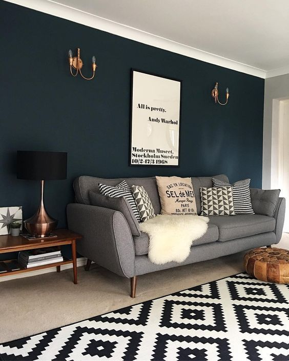 Color Azul En Las Paredes De Interior Cincuenta Disenos Geniales Decoracion De Habitacion Azul Habitaciones Grises Y Azules Colores De Interiores