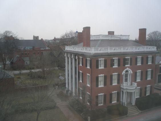 Andrew-Safford House and Federal Garden, as seen from 5th floor room at the Hawthorne Hotel