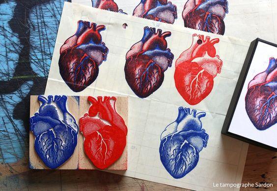 Un coffret de deux tampons du Tampographe Sardon permettant d'imprimer un coeur humain en deux couleurs.