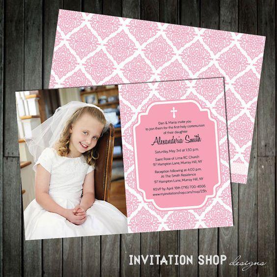 Opulent Damask Photo Communion Invitations  by InvitationShop