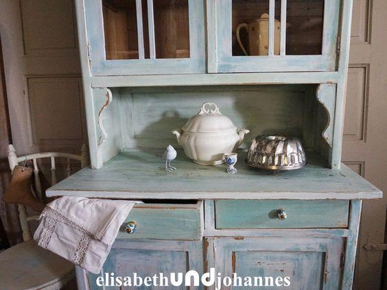 VERKOCHT!! SOLD!! VERKAUFT!! Vintage Buffets - Vintage Landhaus - küchenbuffet weiß antik