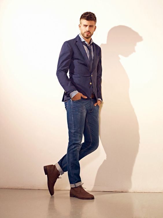 The perfect match: blue jacket and jeans for Gerard Pique for HE by Mango SS 2012