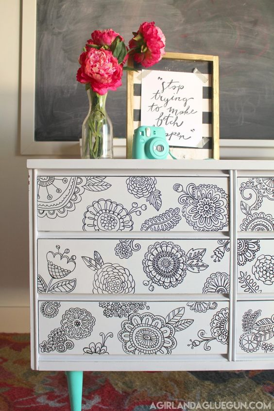 DIY dresser with Sharpie doodles from A Girl And A Glue Gun