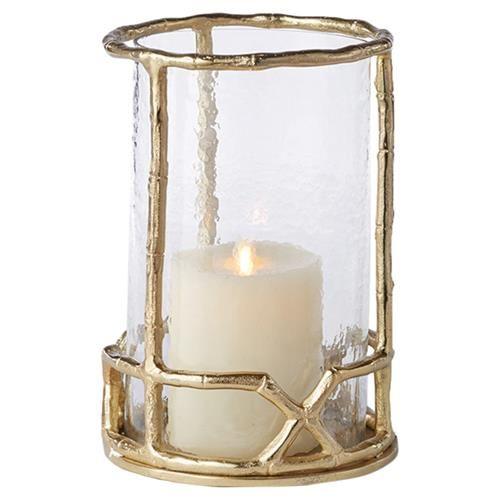 Enzo Coastal Beach Gold Metal Bamboo And Seeded Glass Hurricane Small Glass Hurricane Candle Holder Hurricane Candle Holders Candle Holders