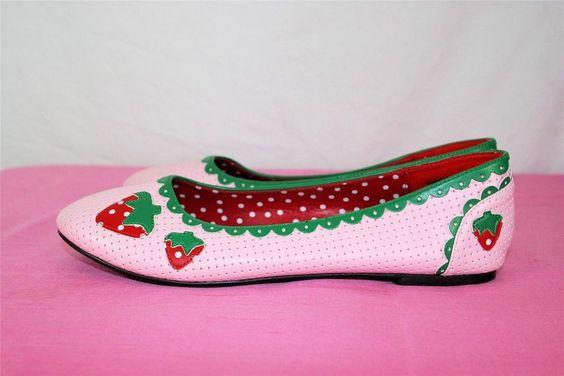 Sweet Strawberry Shortcake Funtasma Perforated Ballet Flats Shoes Worn Once Sz 7 #Funtasma #BalletFlats