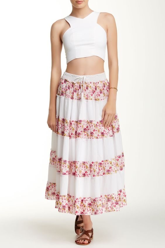 Long Pink Print Flamingo Skirt by Funky People on @HauteLook
