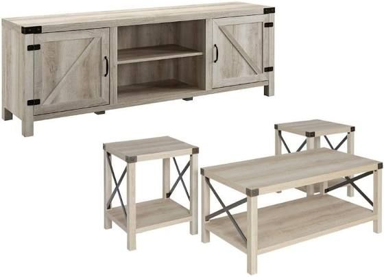 Home Square 4 Piece Barn Door Tv Stand Coffee Table And 2 End Table Set In Rustic White Oak Tv Stand And Coffee Table Living Room Table Sets Living Room Table