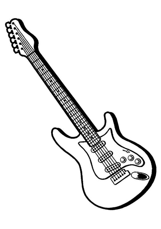 The Electric Guitar Coloring Page In 2020 Guitar Drawing Guitar Outline Guitar Art