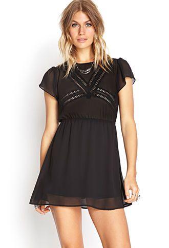 Crochet-Trimmed Chiffon Dress | FOREVER 21 - 2000137835