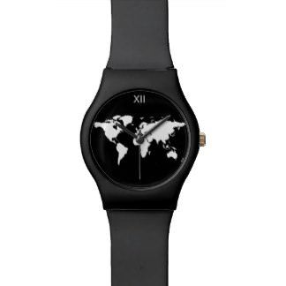 black and white world map watch - lifestylerstore - http://www.lifestylerstore.com/black-and-white-world-map-watch/