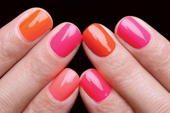 Pink and Orange Nail Combo.