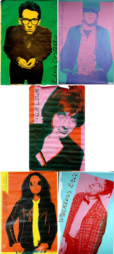 Five Live Stiffs posters designed by Barney Bubbles, photography by Chris Gabrin, 1977.