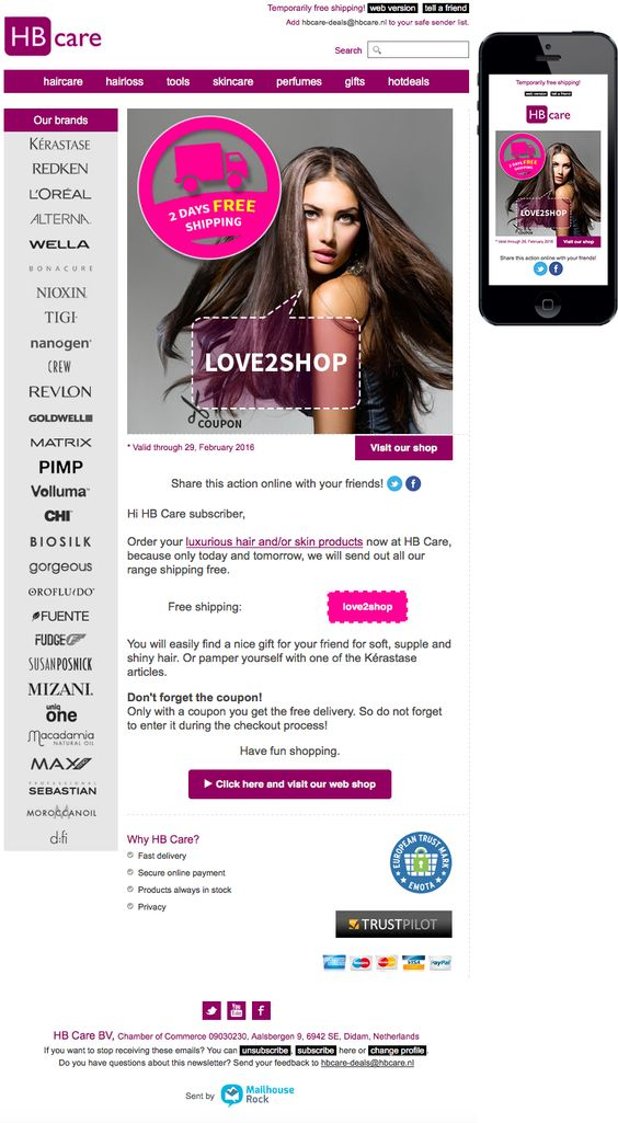Email newsletter template. Hair & skin products: 2 days free shipping. Sent on Februari 28, 2016.
